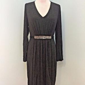 Nue Shani L 12 14 Gray Fit Flare Dress Excellent